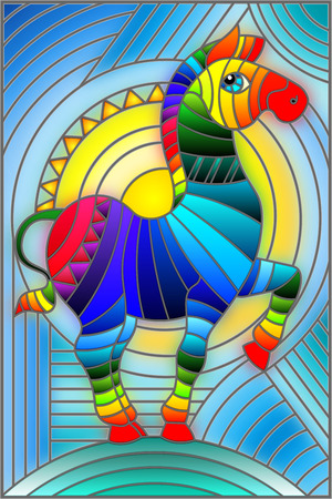 Illustration in stained glass style with abstract geometric rainbow Zebra. 矢量图像