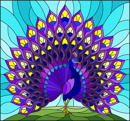 Illustration in stained glass style with colourful peacock on blue sky , background.