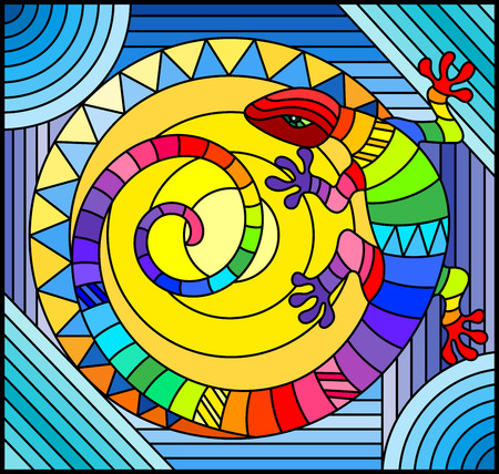 Illustration in stained glass style with abstract rainbow lizard on blue background Illustration