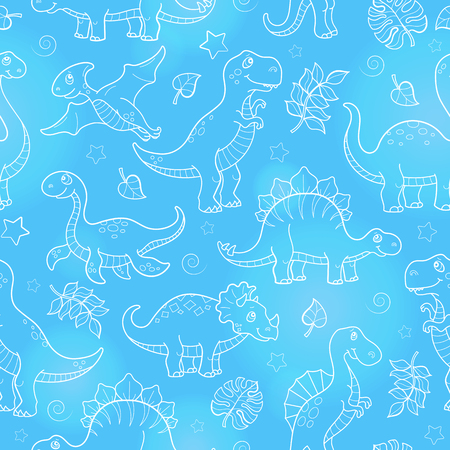 Seamless pattern with dinosaurs and leaves