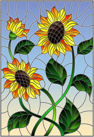 Illustration in stained glass style with a bouquet of sunflowers