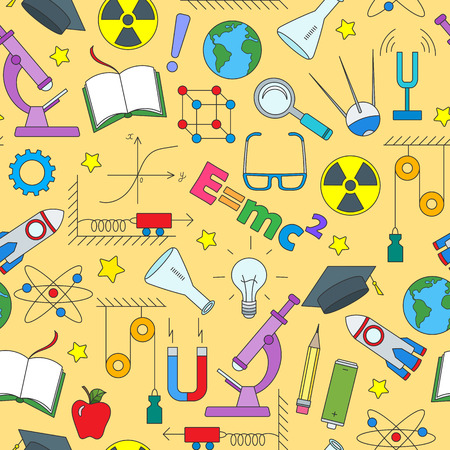Seamless pattern on the theme of the subject of physics education Stock Illustratie