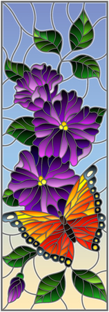 Illustration in stained glass style with bright butterfly against the sky