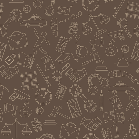 Seamless pattern with hand drawn icons on the theme of law and crimes