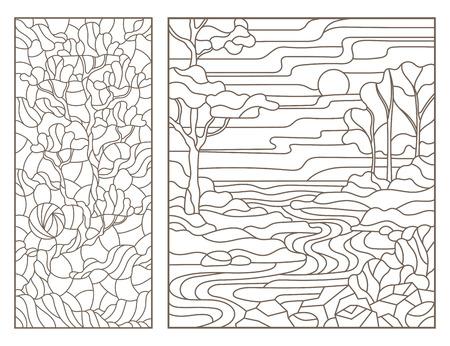 Satz Umrissillustrationen von Buntglasfenstern mit Landschaft, Fluss und einsamem Baum, dunkle Umrisse auf weißem Hintergrund Vektorgrafik