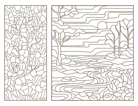 Set of outline illustrations of stained glass Windows with scenery, river and lonely tree, dark outlines on white background