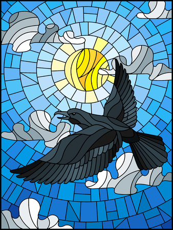 Illustration in stained glass style raven on the background of sky, sun and clouds