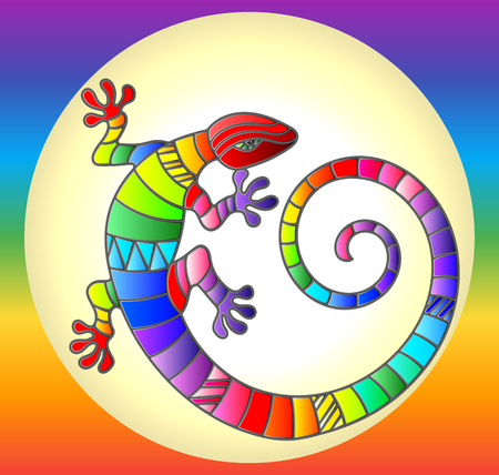 Illustration with abstract stained glass rainbow lizard