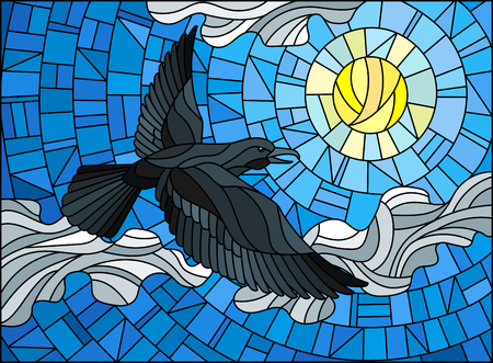 Illustration in stained glass style raven in the sky