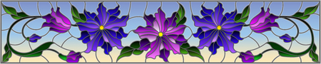 Illustration in stained glass style with flowers, leaves and buds of purple flowers on a sky background, symmetrical image, horizontal orientation