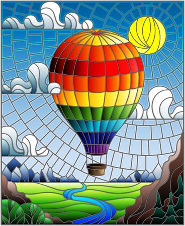 Illustration im Buntglasstil mit einem Regenbogenheißluftballon, der über eine Ebene mit einem Fluss auf einem Hintergrund fliegt.