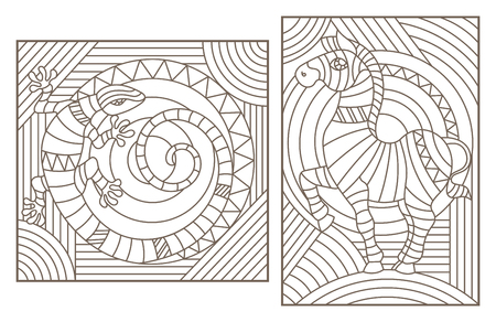 Set of outline illustrations with abstract animals, Zebra and lizard, dark outlines on light background
