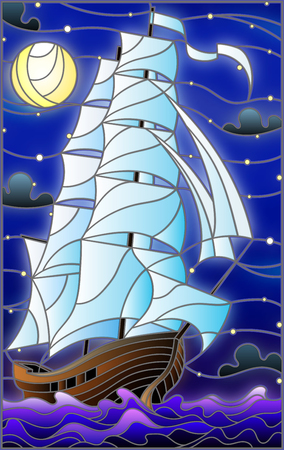 Illustration in stained glass style with an old ship sailing with white sails against the sea.
