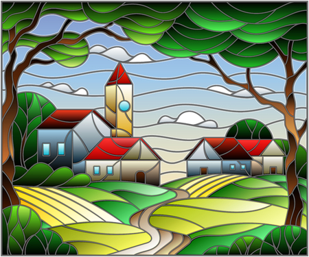 Illustration in stained glass style, urban landscape,roofs and trees against the day sky and sun