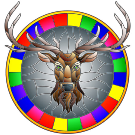 Illustration in stained glass style with deer head in round frame on white background