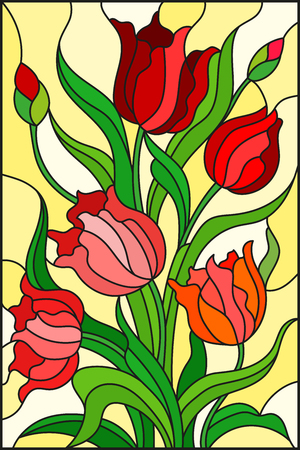 Illustration in stained glass style with a bouquet of red tulips on a yellow background