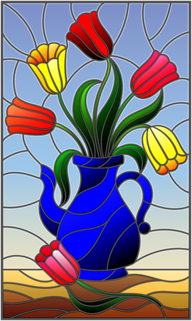 Illustration in stained glass style with still life, blue jug with colorful tulips Ilustração