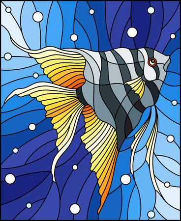 Illustration in stained glass style with bright scalar fish on the background of water and air bubbles