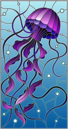 Illustration in stained glass style with abstract purple  jellyfish against a blue sea and bubbles