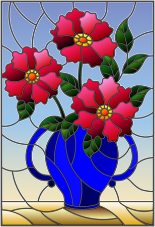 Illustration in stained glass style with still life, bouquet of pink flowers in a blue vase