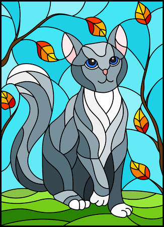 Illustration in stained glass style with grey cat against the sky and tree branches