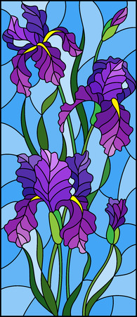 Illustration in stained glass style with purple bouquet of irises, flowers, buds and leaves on blue background 矢量图像