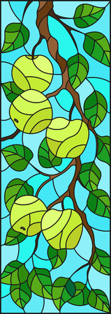 Illustration in the style of a stained glass window with the branches of Apple trees , the fruit branches and leaves against the sky,vertical orientation 矢量图像