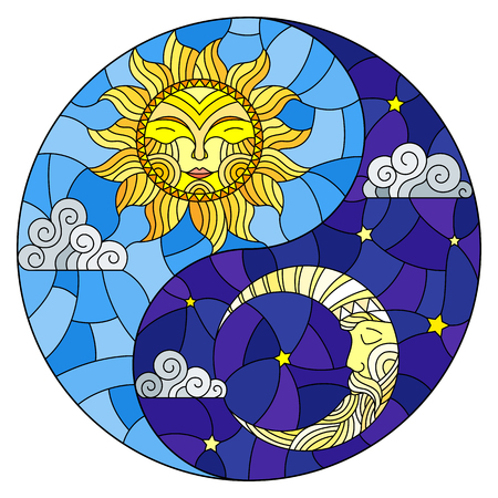 Illustration with sun and moon on sky background in the form of Yin Yang sign, circular image Ilustração