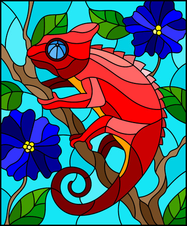 Illustration in stained glass style with bright red chameleon on plant branches background with leaves and blue flowers on blue background