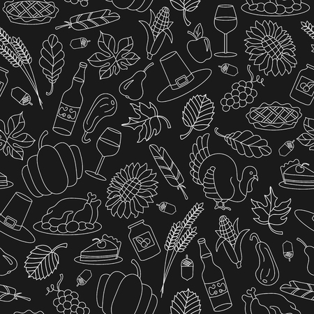 Seamless pattern for holiday Thanksgiving day, a simple hand-drawn light contour shape on dark  background