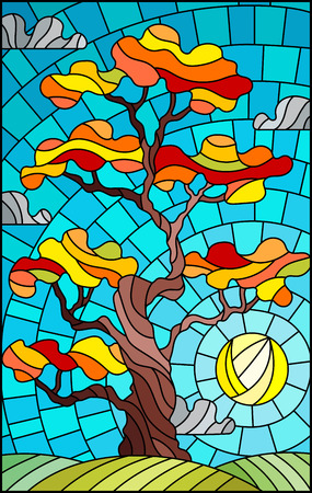 Illustration in stained glass style with autumn tree on sky background with clouds and sun