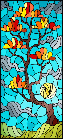 Illustration in stained glass style with autumn tree on sky background with clouds and sun.