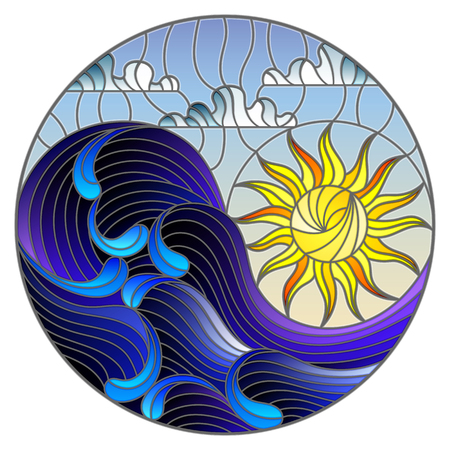 The illustration in stained glass style painting abstract landscape sea waves on the background of Sunny sky and clouds, round illustration.