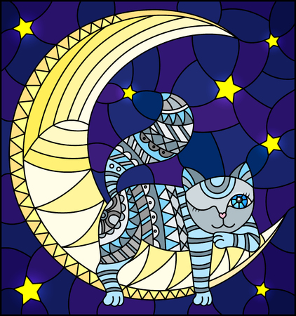 Illustration in stained glass style with fabulous grey kitten lying on the moon on a starry sky background.