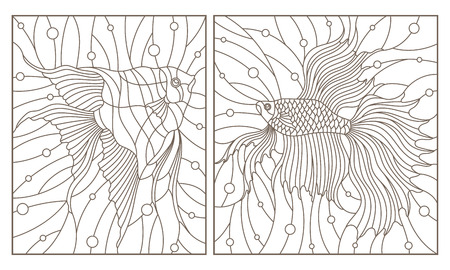Set contour illustrations in the stained glass style aquarium fish fish cock and scalars , dark contours on white background