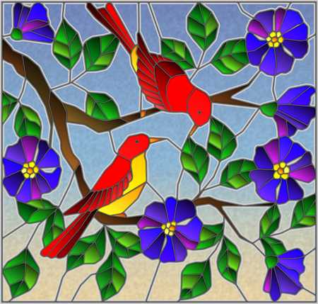 Illustration in stained glass style with two two bright red birds on the branches of blooming wild rose on a background sky Illustration