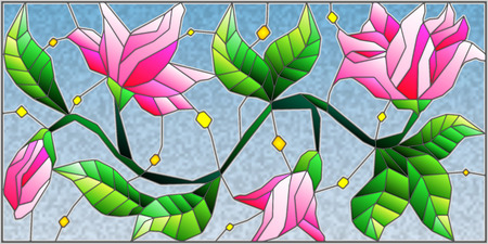 Illustration in stained glass style with abstract pink flowers on a blue background