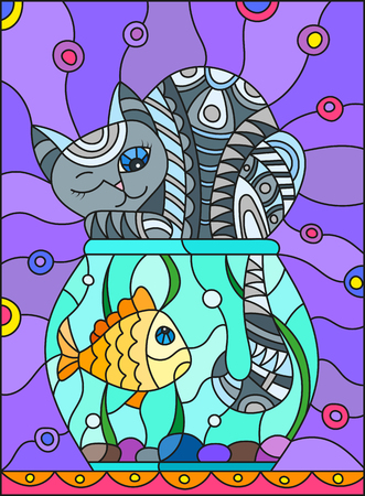Illustration in stained glass style with red abstract grey cat and goldfish in the aquarium  Çizim