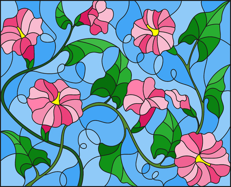 Illustration in stained glass style flowers loach, pink flowers and leaves on blue  background Ilustração