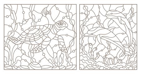 Définir des illustrations de contour des vitraux avec une tortue de mer et une paire de dauphins sur le fond du fond de la mer, des contours sombres sur fond blanc Banque d'images - 101987668