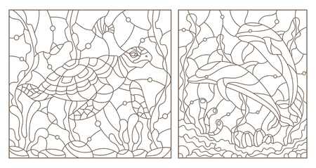 Set contour illustrations of the stained glass Windows with a sea turtle and a pair of dolphins on the background of the sea bottom , dark contours on white background