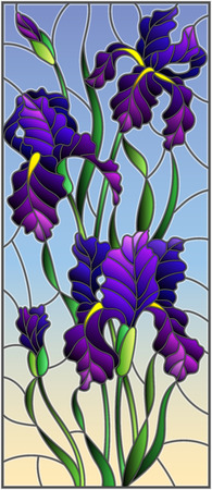Illustration in stained glass style with purple bouquet of irises, flowers, buds and leaves on sky  background Ilustração