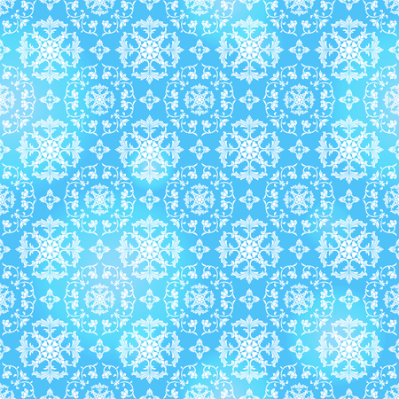 Seamless background with floral patterns, vintage light patterns on blue  background Illustration