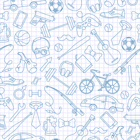 Seamless pattern on the theme of male Hobbies and habits,simple hand-drawn blue  contour  icons on the clean writing-book sheet in a cage Illustration