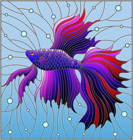 Illustration in stained glass style with blue fighting fish on the background of water and air bubbles Ilustração