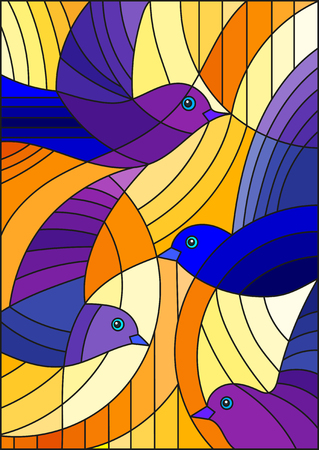 Illustration in stained glass style with bright blue abstract birds on a orange  background