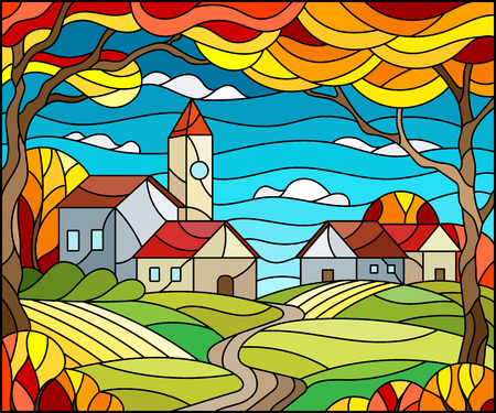 Illustration in stained glass style, urban autumn landscape,roofs and trees against the day sky and sun