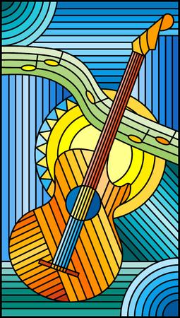 Illustration im Buntglasstil zum Thema Musik, abstrakte Gitarre und Notizen auf blauem Hintergrund