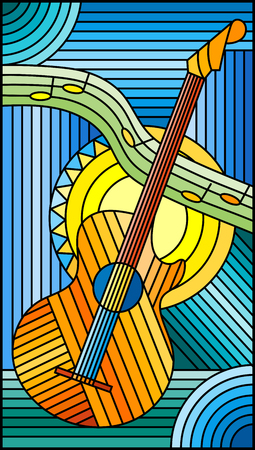 Illustration in stained glass style on the theme of music, abstract guitar and notes on a blue background Illustration