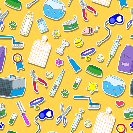 Seamless background on the topic of pet care, pet shop, simple colored icons on a yellow background